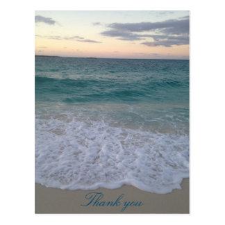 Obrigado do por do sol de Bahamas você cartão