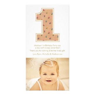 Obrigado do primeiro aniversario do bebé do cartoes com fotos