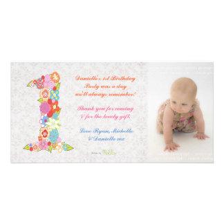 Obrigado do primeiro aniversario do bebê dos bebês cartão com foto
