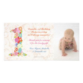 Obrigado do primeiro aniversario do bebê dos bebês cartões com foto personalizados