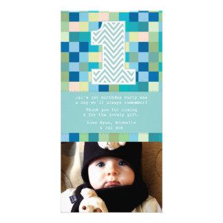 Obrigado do primeiro aniversario do bebê você nota cartão com foto