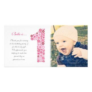 Obrigado do primeiro aniversario dos bebés você ca cartão com foto