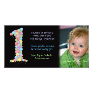 Obrigado do primeiro aniversario dos bebês você ca cartão com foto
