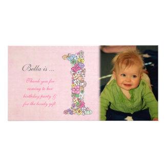 Obrigado do primeiro aniversario dos bebês você ca cartoes com fotos
