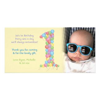 Obrigado do primeiro aniversario dos bebês você ca cartões com foto personalizados