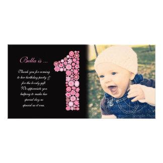 Obrigado do primeiro aniversario dos bebés você ca cartões com foto