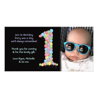 Obrigado do primeiro aniversario dos bebês você ca cartão com fotos personalizado