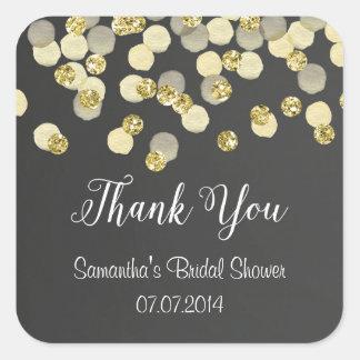 Obrigado do quadro dos confetes do ouro você adesivo quadrado