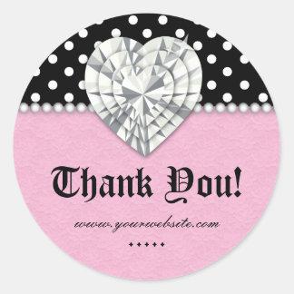 Obrigado do rosa do coração do laço da pérola dos  adesivo