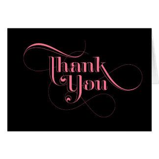 Obrigado do rosa e do preto você cartões