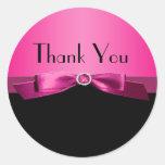 Obrigado do rosa quente e do preto você etiqueta adesivos em formato redondos