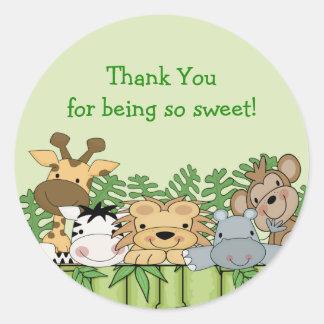 Obrigado do safari de selva do bebê você etiqueta adesivo