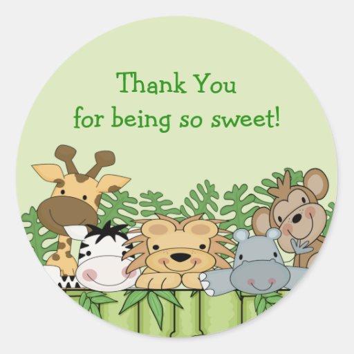 Obrigado do safari de selva do bebê você etiqueta adesivo em formato redondo