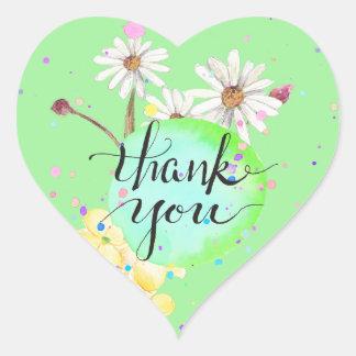 Obrigado do Splatter da flor de Amanda você Adesivo Coração