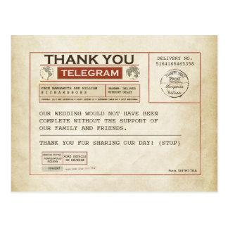 Obrigado do telegrama você cartões para wedding