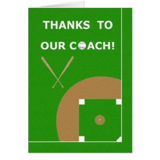 Obrigado do treinador de basebol você cartões e