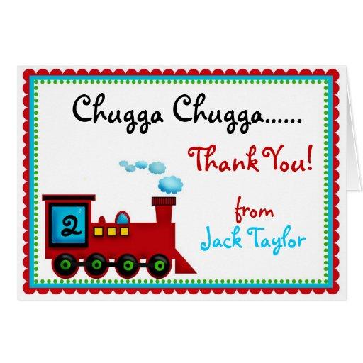 Obrigado do trem de Choo Choo você cartões de nota