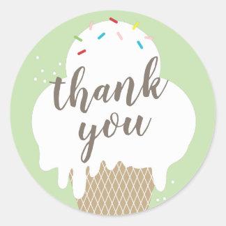 Obrigado do verde do cone do sorvete você etiqueta