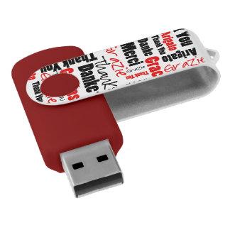 Obrigado do vermelho e do preto você exprime a pen drive giratório