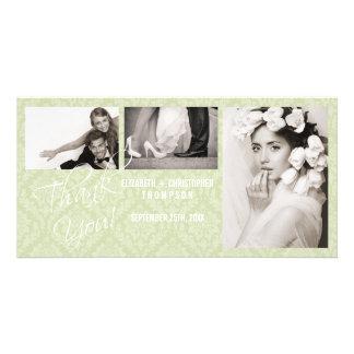 Obrigado do vintage do damasco você cartão com fot cartão com foto