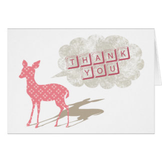 Obrigado dobrado Bambi cor-de-rosa você cartão