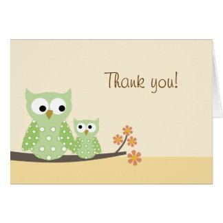 Obrigado dobrado da coruja de buzina você cartão