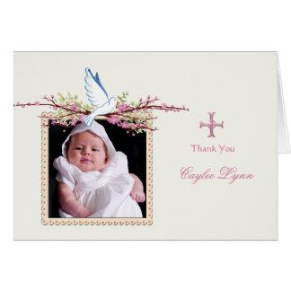 Obrigado dobrado da pomba do primavera foto religi cartões