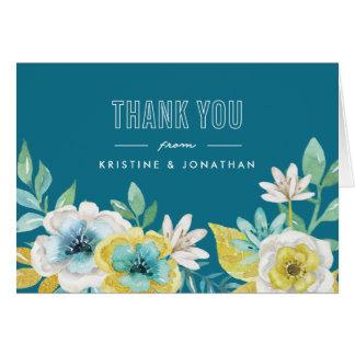 Obrigado dobrado floral da aguarela você cartões