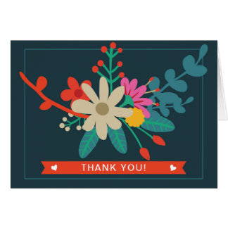 Obrigado dobrado floral lunático você cartões