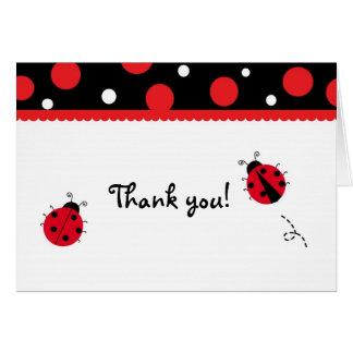 Obrigado dobrado joaninha você cartões de nota