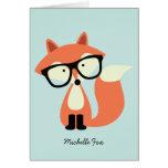 Obrigado dobrado vermelho do Fox do hipster bonito Cartoes