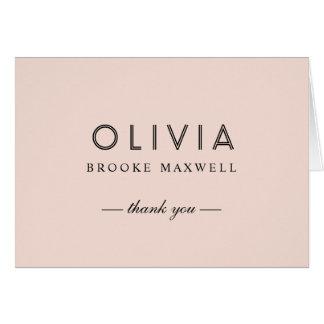 Obrigado dobrado você cartões de nota | cora rosa