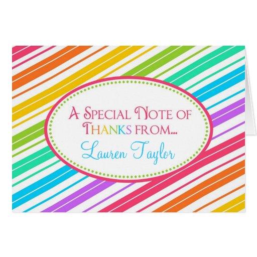 Obrigado doce das listras dos doces você Notecards Cartões