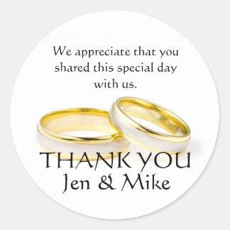 Obrigado dos anéis de ouro você etiquetas do favor adesivo