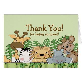Obrigado dos animais do safari do bebê você cartão
