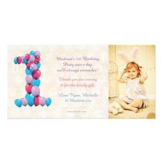 Obrigado dos balões do primeiro aniversario do beb cartao com fotos personalizado