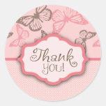 Obrigado dos beijos da borboleta você etiqueta adesivos redondos
