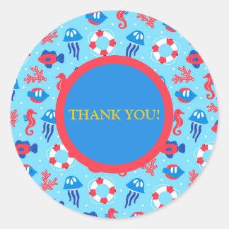 Obrigado dos cavalos marinhos e das medusa do adesivo redondo