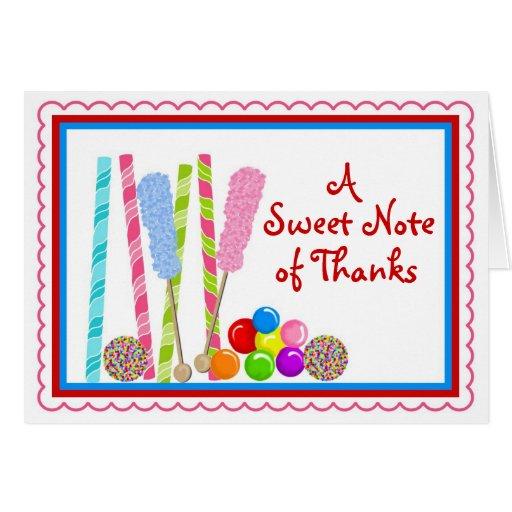 Obrigado dos doces você Notecards Cartão