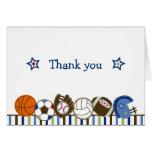 Obrigado dos esportes da bola do jogo você cartões