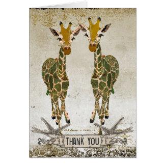Obrigado dos girafas do ouro você Notecard Cartão De Nota