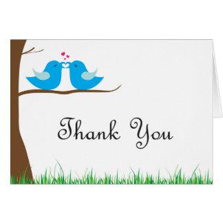 Obrigado dos pássaros do amor você cartão de nota