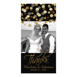 Obrigado dos pontos do brilho do ouro do falso do cartão com foto