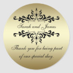 Obrigado dos redemoinhos do preto do ouro você eti adesivo