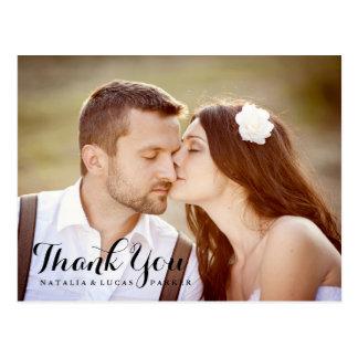 Obrigado elegante baseado num guião do casamento cartão postal