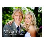 Obrigado elegante baseado num guião do casamento v cartão postal