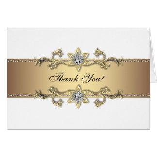 Obrigado elegante do branco e do ouro você cartões