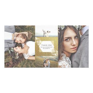 Obrigado elegante do casamento da foto do brilho cartão com foto
