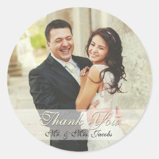 Obrigado elegante do casamento da foto do marfim adesivo