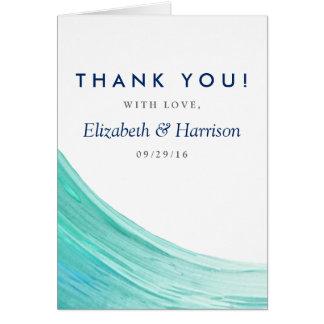 Obrigado elegante do casamento de praia das marés cartão de nota